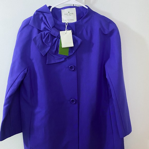 Kate Spade Blue Bow-Accented Kendall Coat w/ Tags